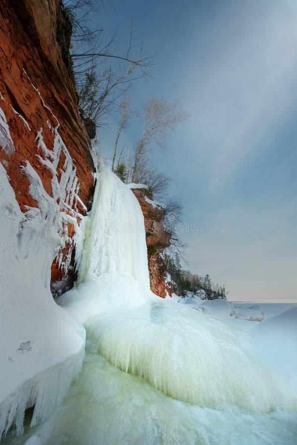 Острова апостола морозят пещеры, зиму, перемещение Висконсин стоковое фото