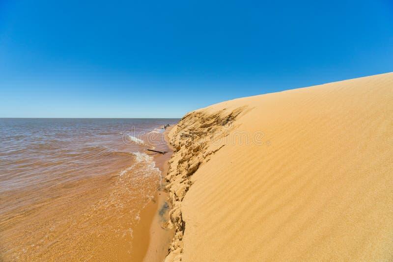 """Остров """"Las Dunas de Сан Cosme y Damian """"дюн в середине Рио Parana около города Encarnacion стоковые фото"""