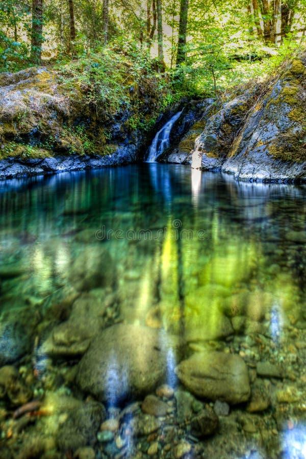 Отверстие плавания заводи рая с водой и коротким водопадом в центре на более низком жульническом реке стоковые изображения rf
