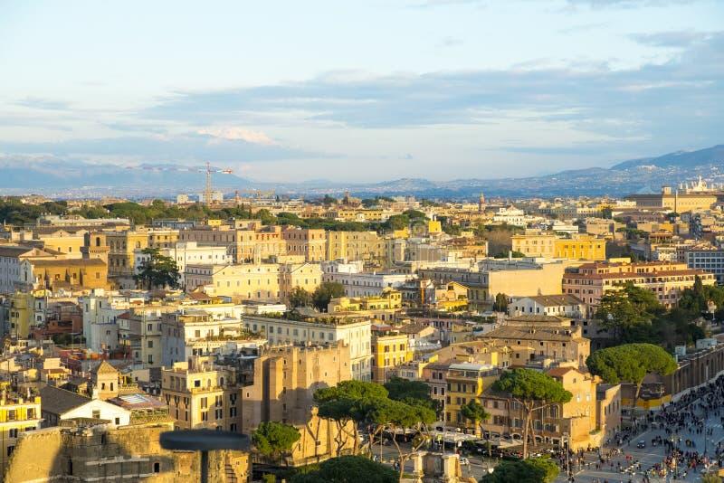 Отечество алтара взгляда высокого угла городского пейзажа Рима стоковое изображение rf