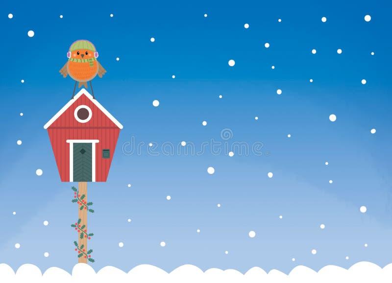 Открытка дома зимы Робин