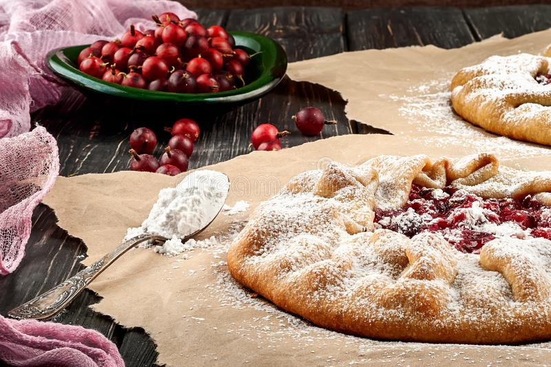 Открытые пироги с крыжовниками стоковая фотография rf