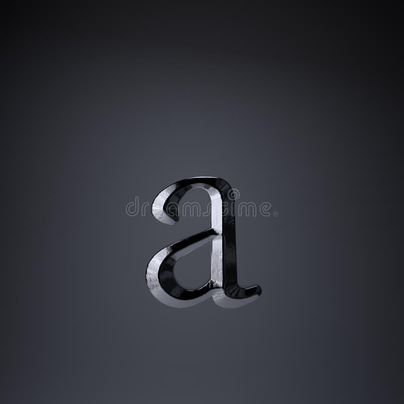 Отделанная строчная буква письма a утюга 3d представляют шрифт названия игры или фильма изолированный на черной предпосылке бесплатная иллюстрация