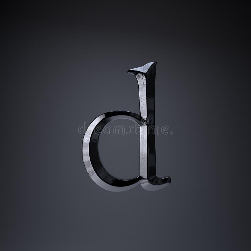 Отделанная строчная буква письма d утюга 3d представляют шрифт названия игры или фильма изолированный на черной предпосылке бесплатная иллюстрация