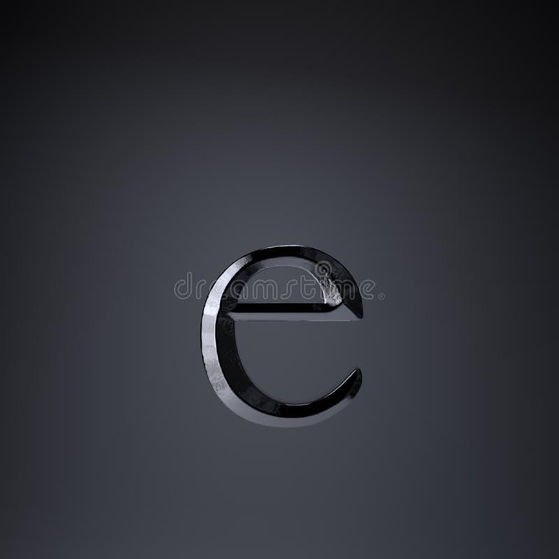 Отделанная строчная буква письма e утюга 3d представляют шрифт названия игры или фильма изолированный на черной предпосылке иллюстрация штока