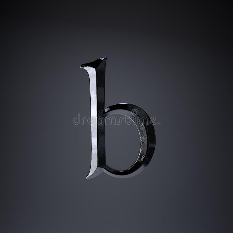 Отделанная строчная буква b письма утюга 3d представляют шрифт названия игры или фильма изолированный на черной предпосылке иллюстрация вектора