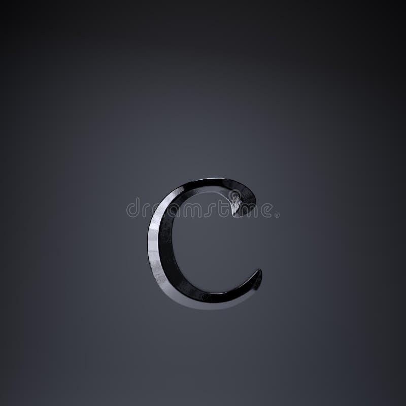 Отделанная строчная буква c письма утюга 3d представляют шрифт названия игры или фильма изолированный на черной предпосылке иллюстрация вектора