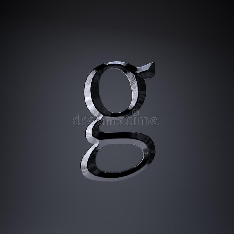 Отделанная строчная буква g письма утюга 3d представляют шрифт названия игры или фильма изолированный на черной предпосылке иллюстрация вектора