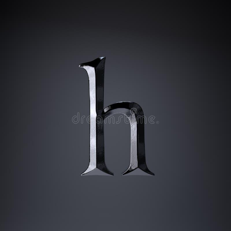 Отделанная строчная буква h письма утюга 3d представляют шрифт названия игры или фильма изолированный на черной предпосылке иллюстрация вектора