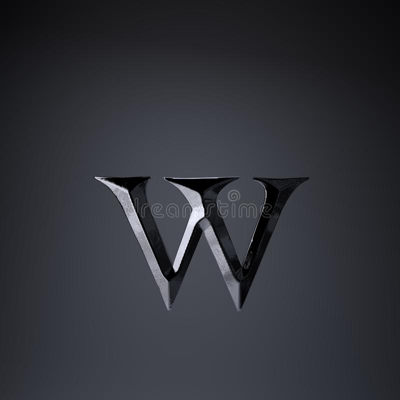 Отделанная строчная буква w письма утюга 3d представляют шрифт названия игры или фильма изолированный на черной предпосылке иллюстрация штока