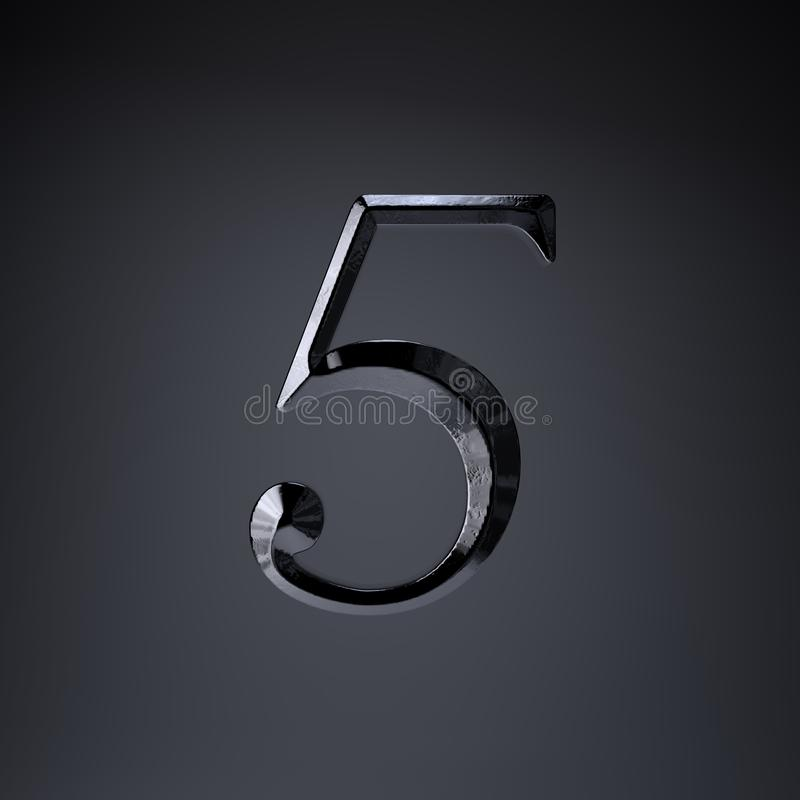 Отделанный утюг 5 3d представляют шрифт названия игры или фильма изолированный на черной предпосылке иллюстрация вектора
