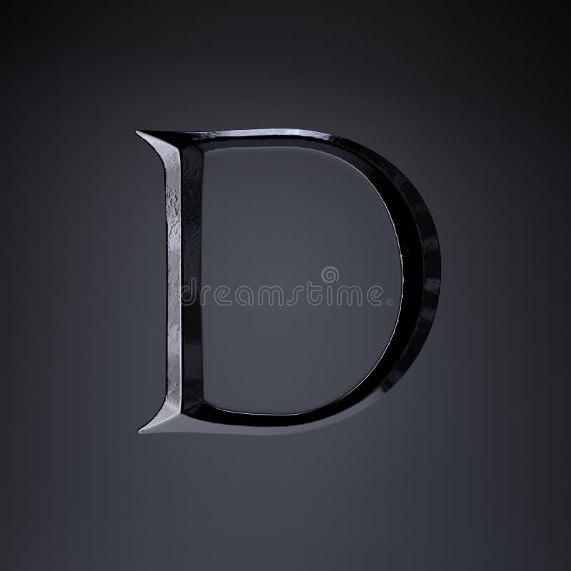 Отделанный uppercase письма d утюга 3d представляют шрифт названия игры или фильма изолированный на черной предпосылке бесплатная иллюстрация