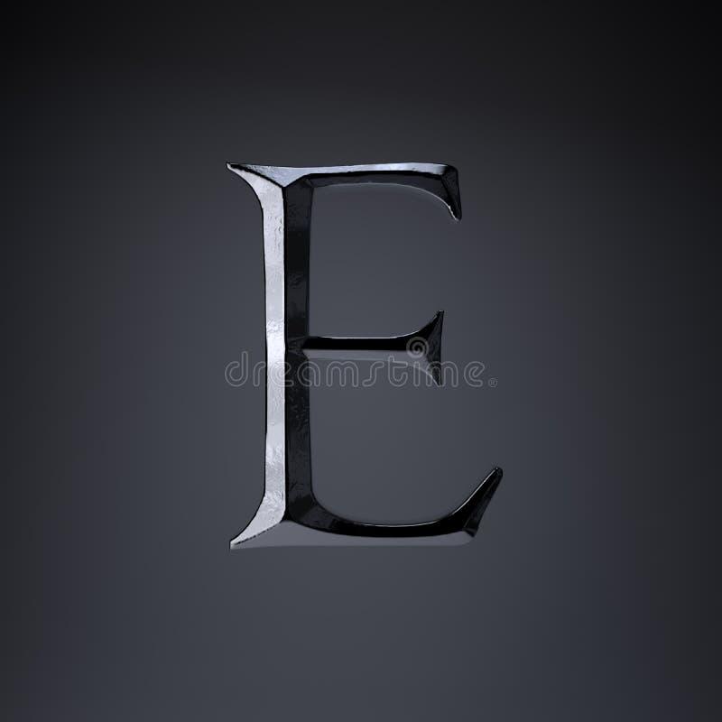 Отделанный uppercase письма e утюга 3d представляют шрифт названия игры или фильма изолированный на черной предпосылке иллюстрация вектора