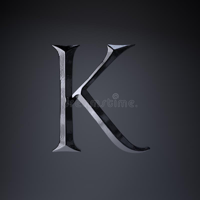 Отделанный uppercase письма k утюга 3d представляют шрифт названия игры или фильма изолированный на черной предпосылке бесплатная иллюстрация
