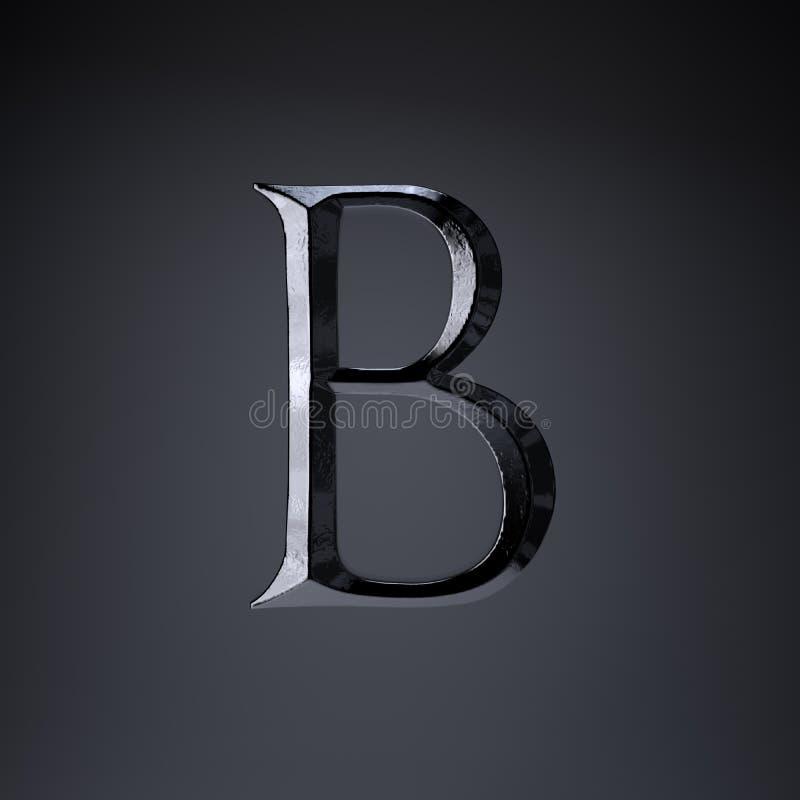 Отделанный uppercase b письма утюга 3d представляют шрифт названия игры или фильма изолированный на черной предпосылке бесплатная иллюстрация