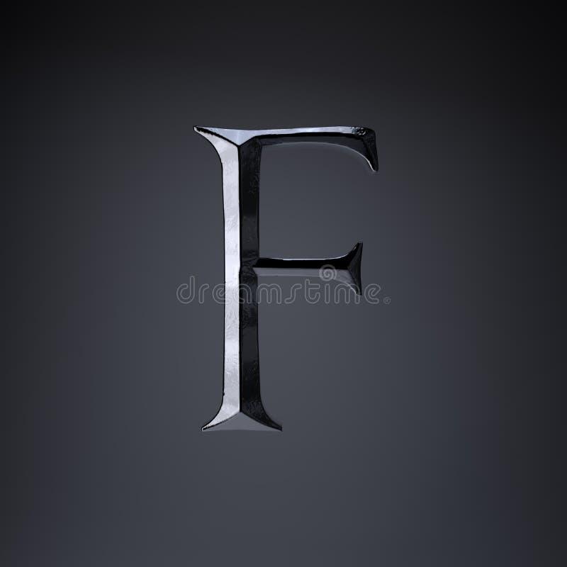 Отделанный uppercase f письма утюга 3d представляют шрифт названия игры или фильма изолированный на черной предпосылке иллюстрация штока