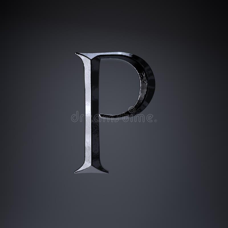 Отделанный uppercase p письма утюга 3d представляют шрифт названия игры или фильма изолированный на черной предпосылке иллюстрация штока