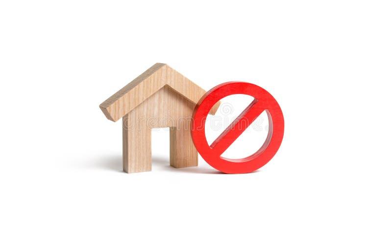 Отсутствие знака и деревянного дома на изолированной предпосылке Отсутствие расквартировывая, занятая или низкая поставки Труднод стоковое изображение rf