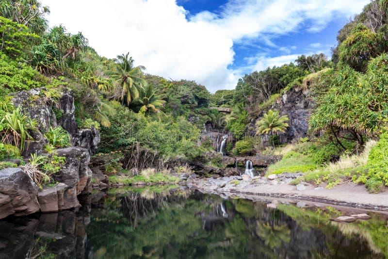 Отражения на 7 священных бассейнах стоковые фотографии rf