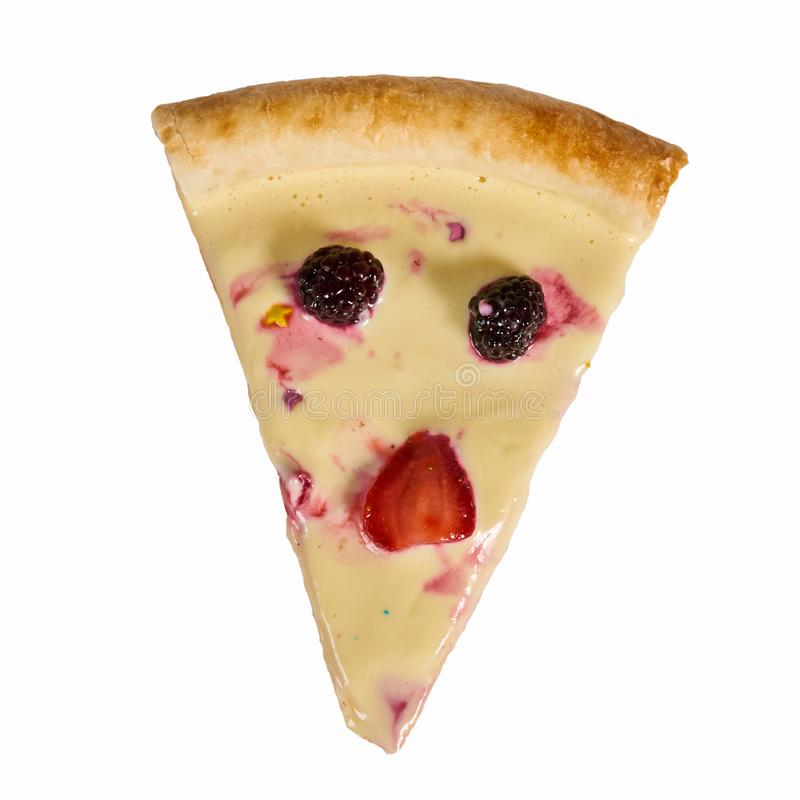 Очень вкусная сладкая пицца с клубниками и сливк стоковое фото rf