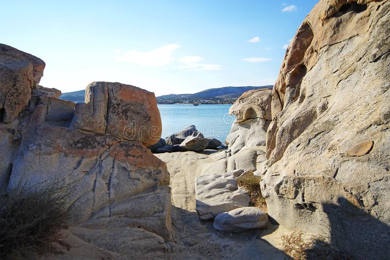Очень особенное образование утесов пляжа Kolimbithres на острове Paros стоковое фото