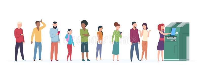 Очередь Atm Люди стоя, что и ждать в линии к atm получить деньги Вектор оплаты банка автоматизации безопасностью дела бесплатная иллюстрация