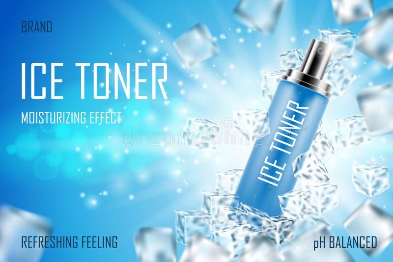 Охлаждая тонер льда с кубами льда Реалистическое замороженное освежая объявление бутылки брызг упаковывая Продукт тонера стороны  бесплатная иллюстрация