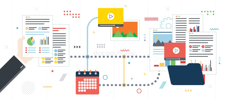 Организация, архив данных, видео и фото обработки документов дела иллюстрация вектора
