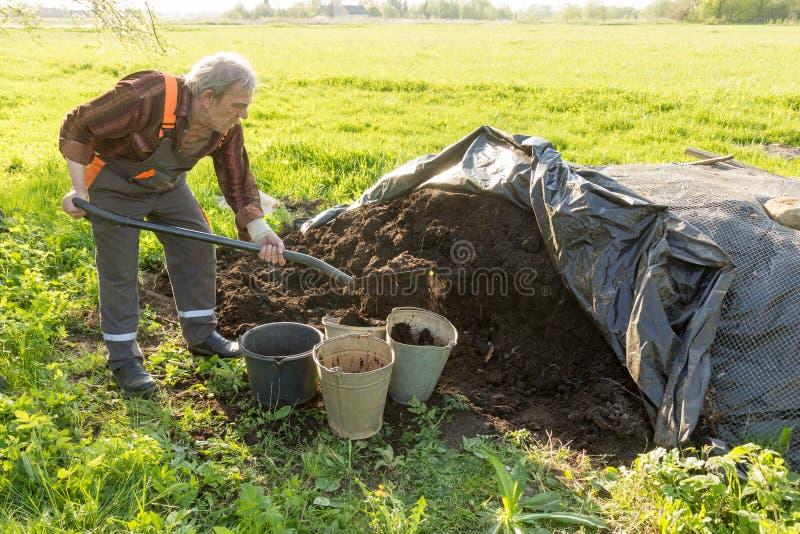 Органическое удобрение в саде стоковое фото rf