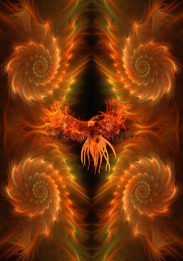 Орел конспекта художественный пламенистый в уникальной пламенистой предпосылке фрактали иллюстрация штока