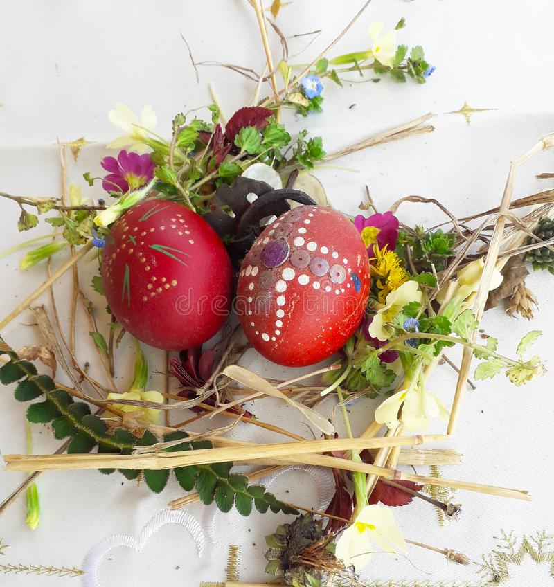 Орнаментированное красное пасхальное яйцо со свежими полевыми цветками и травами стоковая фотография