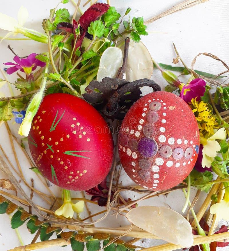 Орнаментированное красное пасхальное яйцо со свежими полевыми цветками и травами стоковые изображения rf