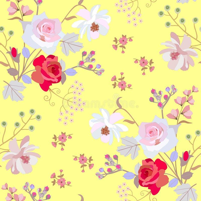 Орнамент безшовного лета флористический с bunchs ягод цветков сада и вишни птицы изолированных на живой желтой предпосылке иллюстрация вектора