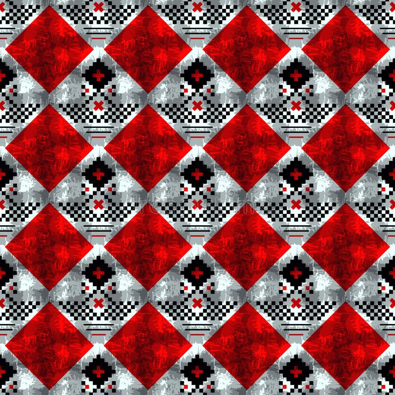 Орнамент вектора геометрический традиционный скандинавский Простая орнаментальная безшовная картина Фольклорный этнический мотив  бесплатная иллюстрация