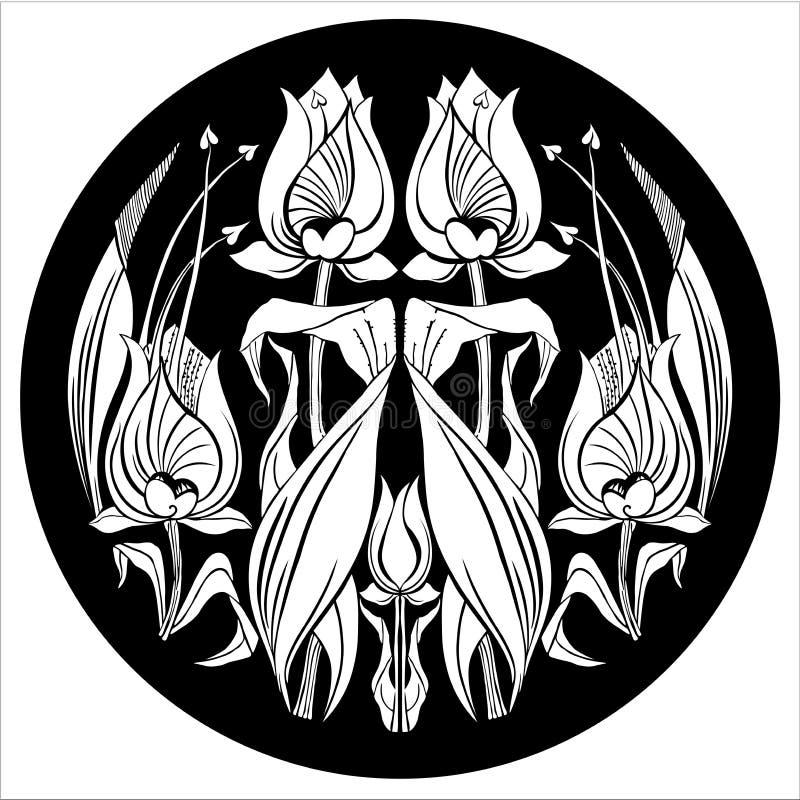Орнамент тюльпана вектора декоративный орнамент с цветком стоковое фото rf