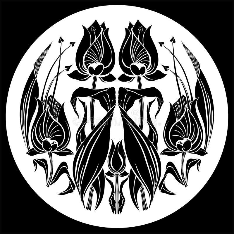 Орнамент тюльпана вектора декоративный орнамент с цветком стоковые фото