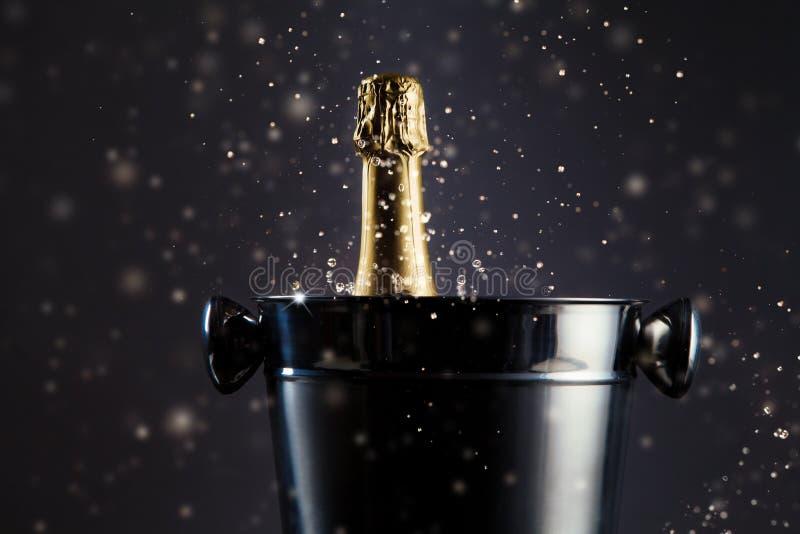 Oöppnad flaska av champagne i behållare royaltyfri foto