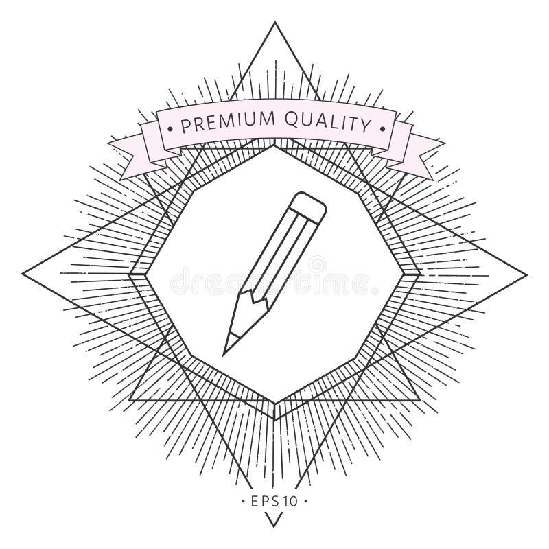 Ołówek - liniowa ikona royalty ilustracja
