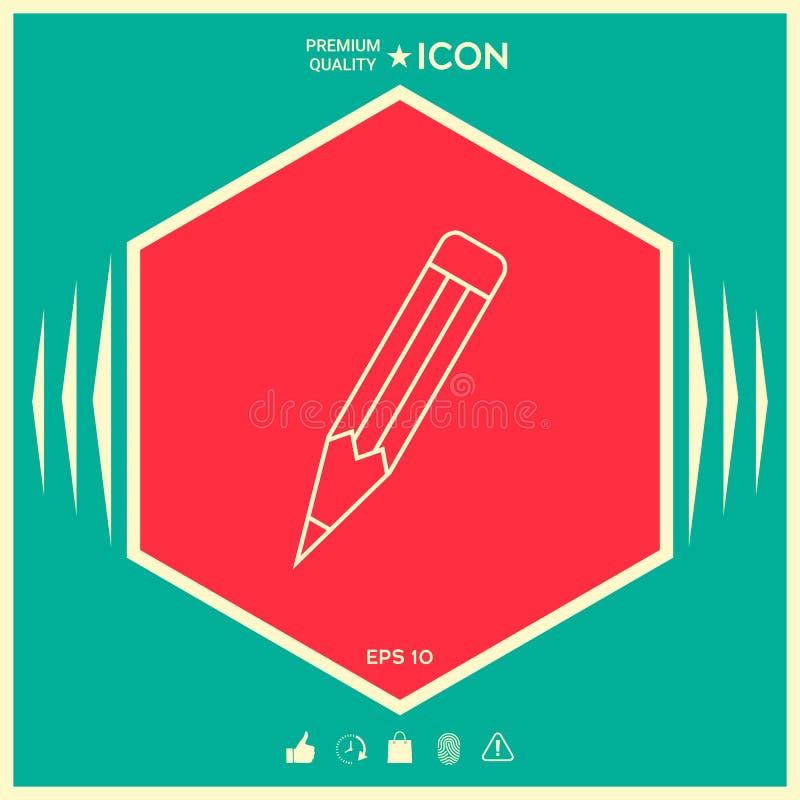 Ołówek - liniowa ikona ilustracji