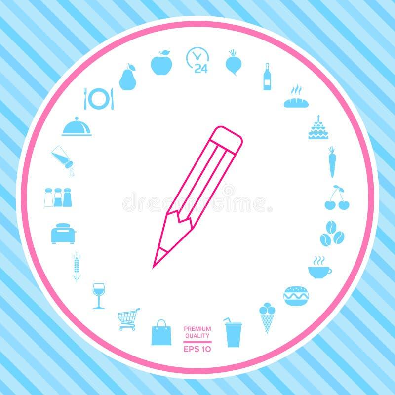 Ołówek - liniowa ikona ilustracja wektor