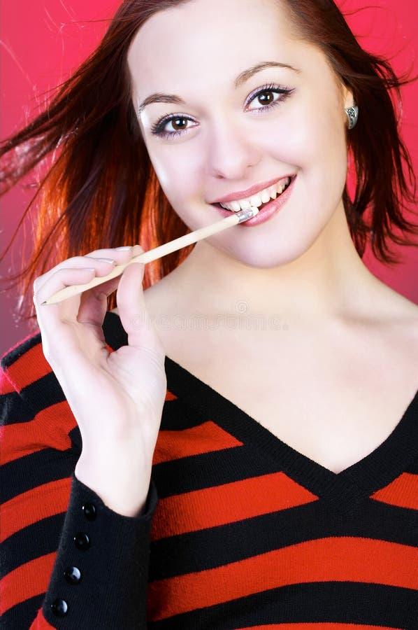 ołówek młodych kobiet obraz stock