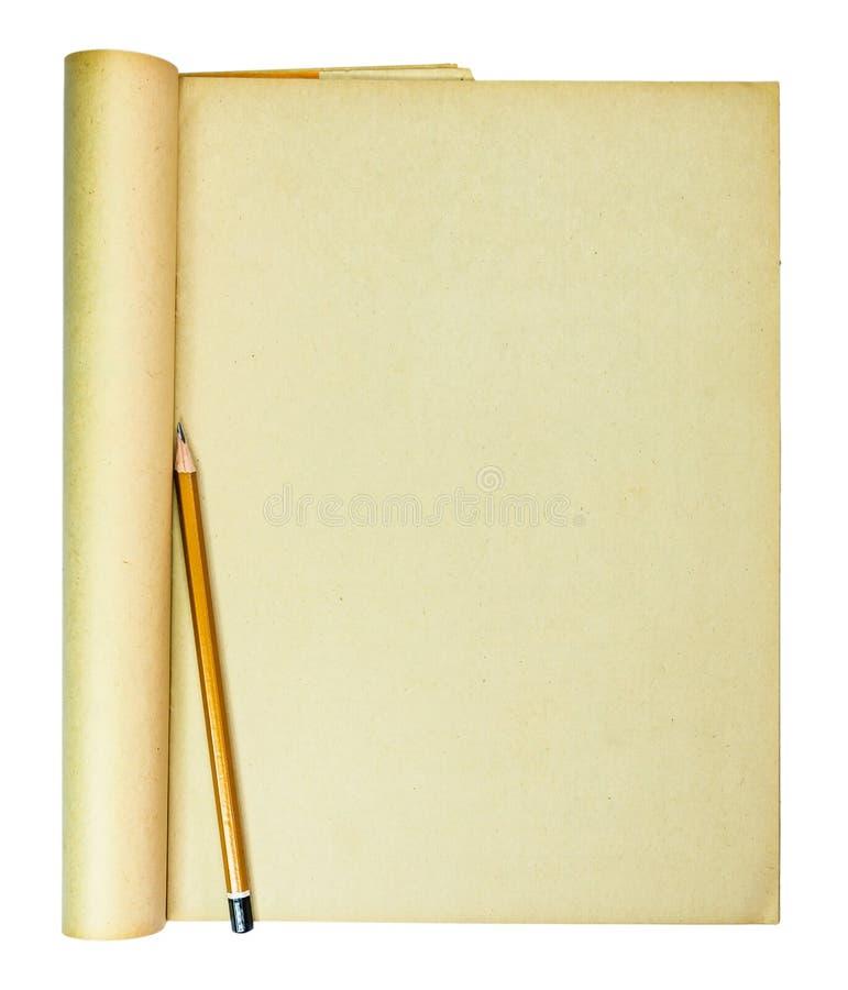 Ołówek na starej papierowej kopii przestrzeni, tła use zdjęcia stock