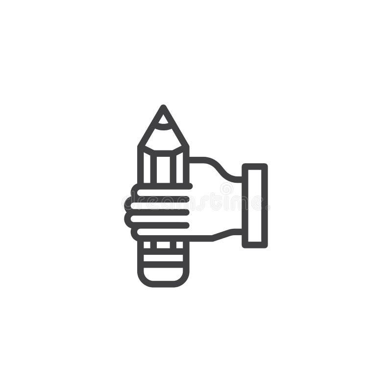 Ołówek w ręki linii ikonie ilustracji