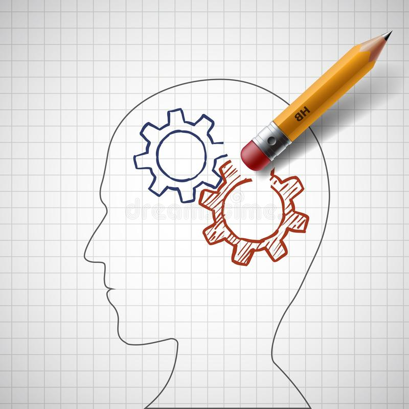 Ołówek wymazuje przekładnie w ludzkiej głowie zapas royalty ilustracja