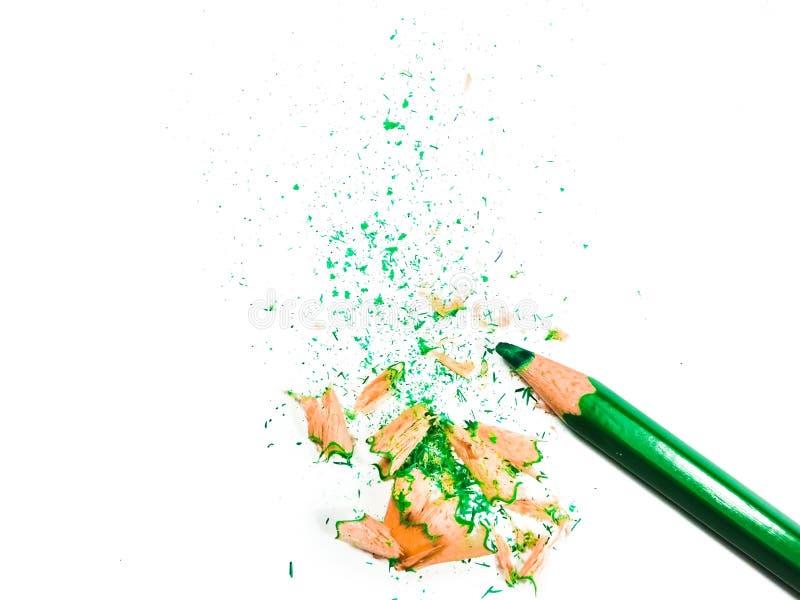 Ołówek z kredkami zielonymi na biaÅ'ym tle zdjęcie stock