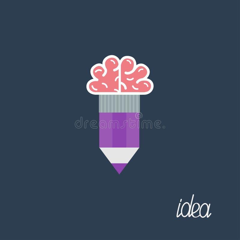 Ołówek z móżdżkowym Biznesowym pomysłu pojęciem Płaski projekt royalty ilustracja