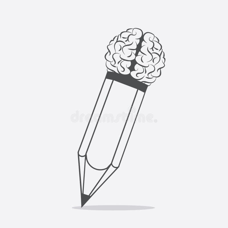 Ołówek z móżdżkowym pomysłu pojęcia tłem ilustracja wektor