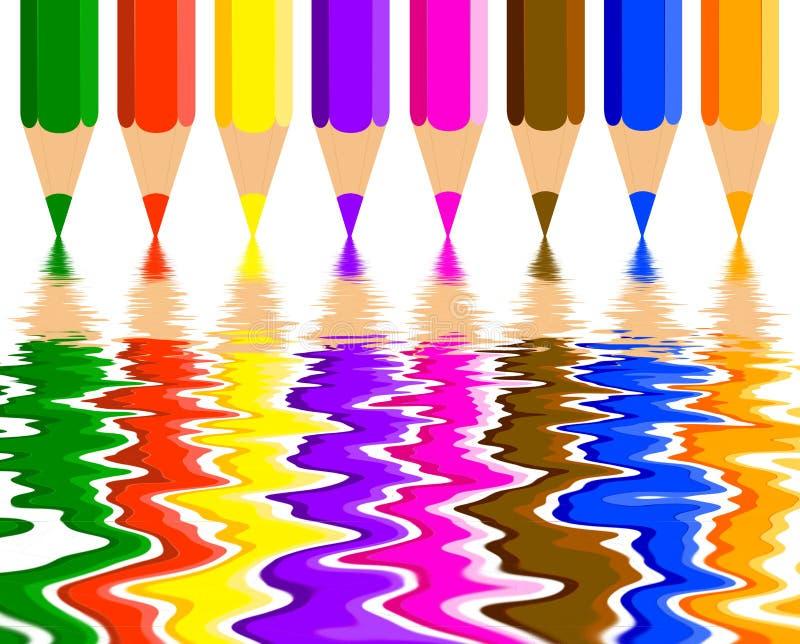 ołówka barwiony odbicie royalty ilustracja