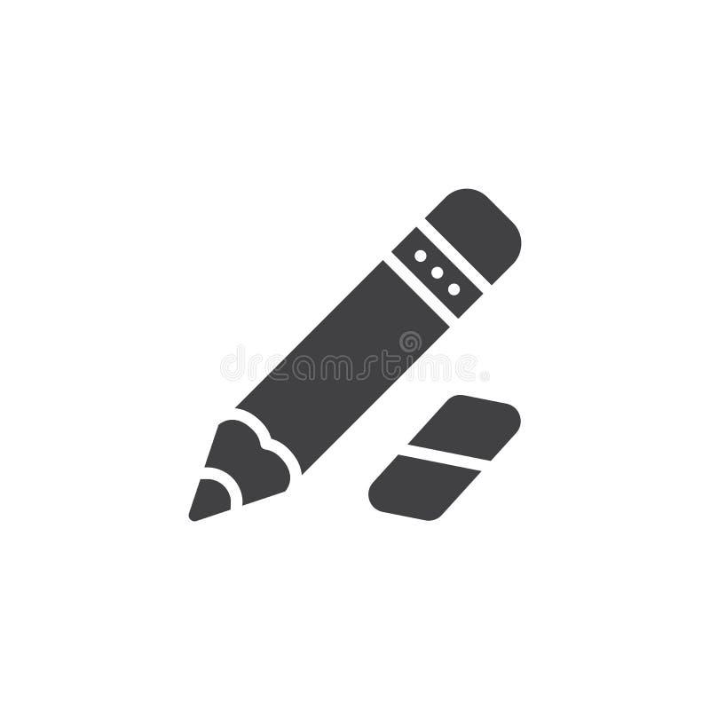 Ołówka i gumki wektoru ikona ilustracji