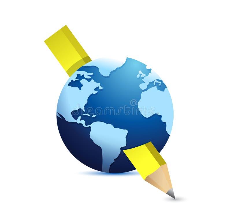 Ołówka i kuli ziemskiej ilustracyjny projekt ilustracji